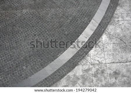 black Street cobblestone with white shade curve texture  - stock photo