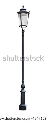 Black street lamp isolated on white background
