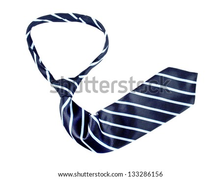 black striped necktie on a white background - stock photo