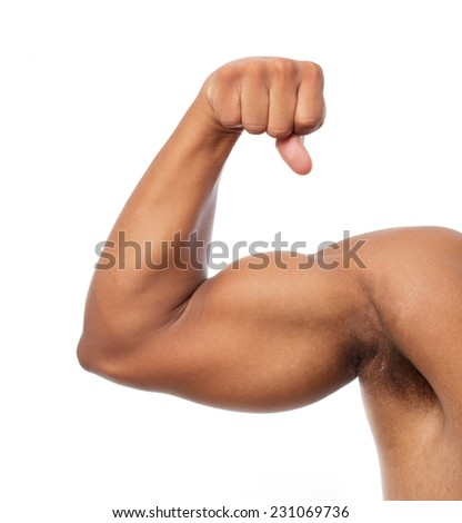 black strong arm and biceps