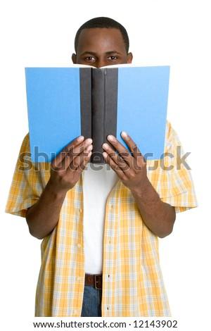 Black Student Reading - stock photo