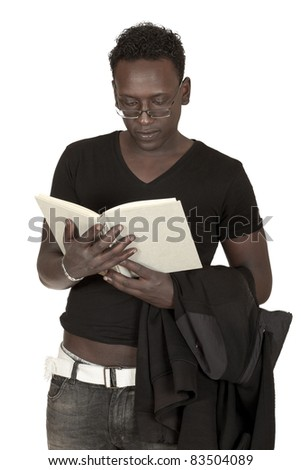 black student reads a book isolated on white background