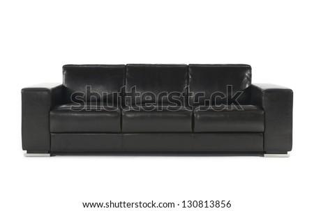Black stylish couch on isolated white background - stock photo