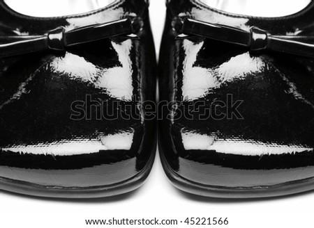 Black stylish female shoes - stock photo
