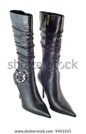 Black stylish shoes isolated on white background - stock photo