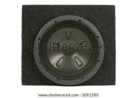 Black subwoofer. Isolated on white. Clipping path included - stock photo