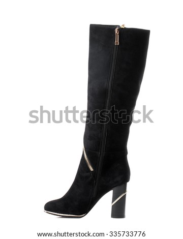 Black suede high boot on white background.Side view. - stock photo