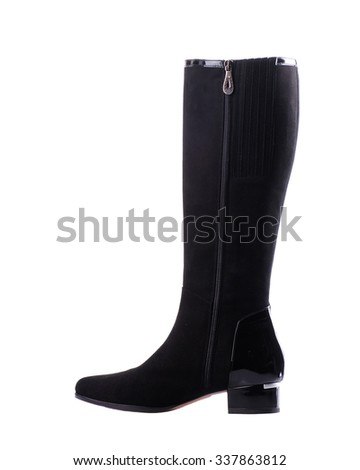 Black suede knee high boot isolated on white background. - stock photo