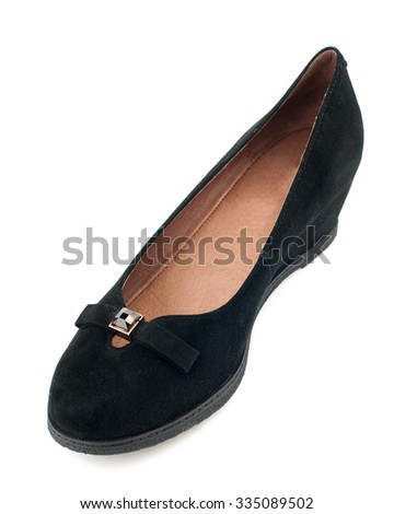 Black suede women shoe isolated on white background.Top view. - stock photo