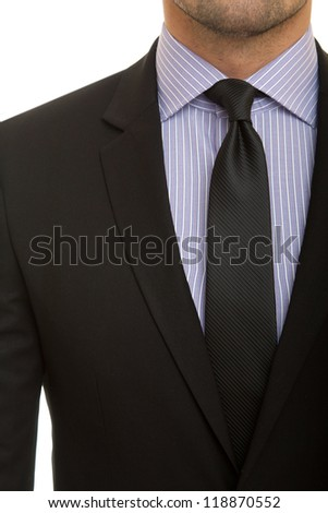 black suit with black tie