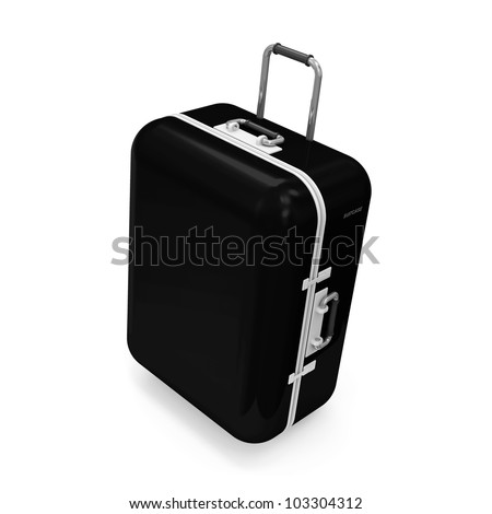 Black Suitcase isolated on white background - stock photo