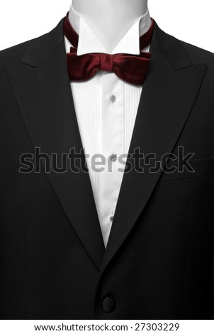 black suite with white shirt and red butterfly