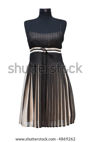 Black summer dress on a white background - stock photo