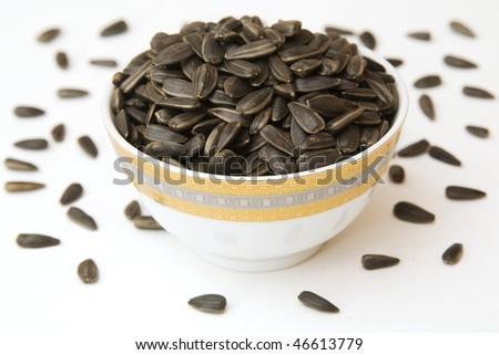 black sunflower seeds - stock photo