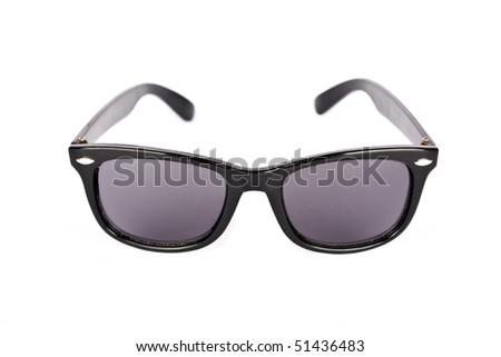 Black sunglasses against white background - stock photo