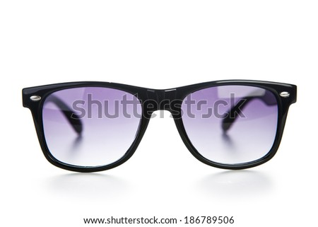 Black sunglasses close up. Isolated on a white background.