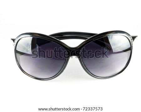 Black sunglasses isolated on the white background - stock photo