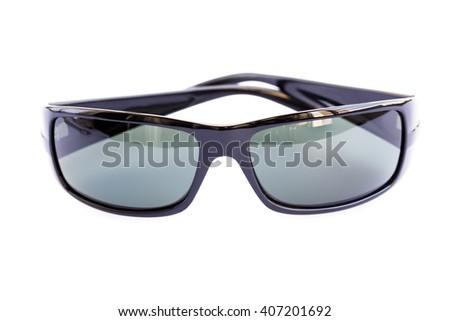 Black sunglasses isolated on white background. - stock photo