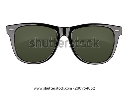 Black sunglasses isolated on white background. With clipping path - stock photo
