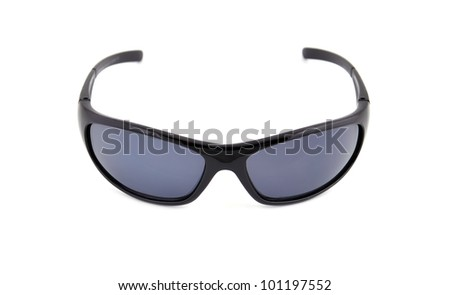 black sunglasses on a white background - stock photo