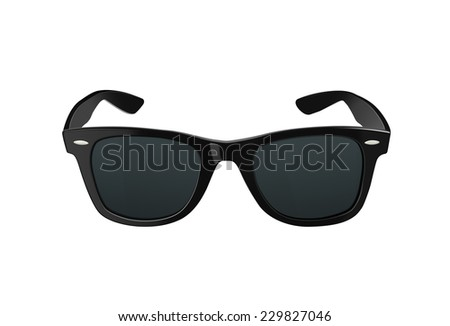 Black sunglasses or shades, with plastic rims and tinted lenses, both modern and retro fashion. Isolated on a white background with clipping path.  - stock photo