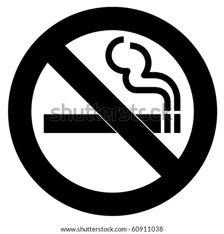 Black Symbol of no smoking zone - stock photo