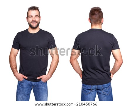 Black t shirt on a young man template on white background - stock photo