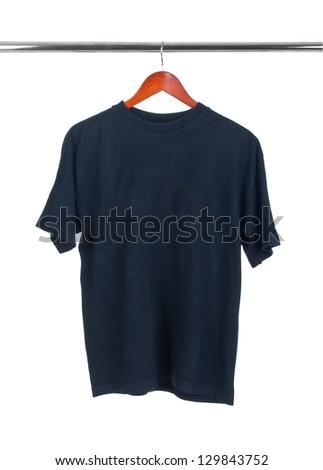 Black t-shirt on hanger isolated on white - stock photo