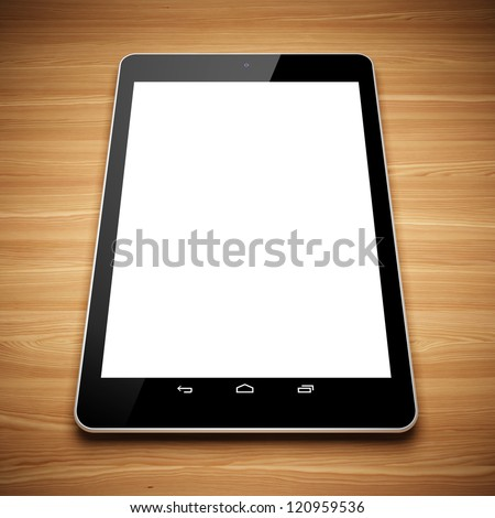 Black tablet computer on the wooden table - stock photo