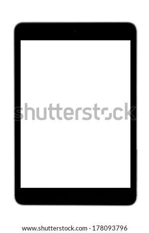 Black tablet computer (tablet pc) on white background - stock photo