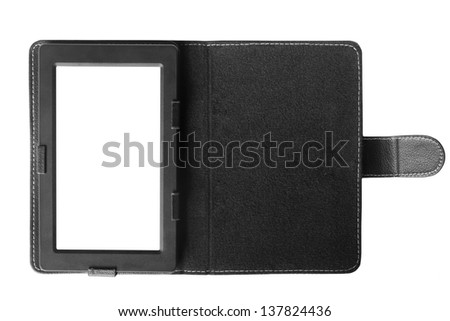 Black tablet computer with case isolated over white background.