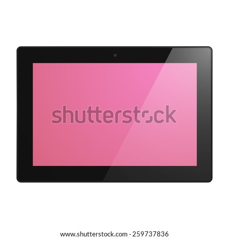 Black Tablet Computer with pink display. Illustration Similar To iPad. - stock photo
