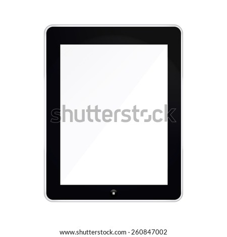 Black Tablet mockup Isolated On White with blank screen. illustration  - stock photo