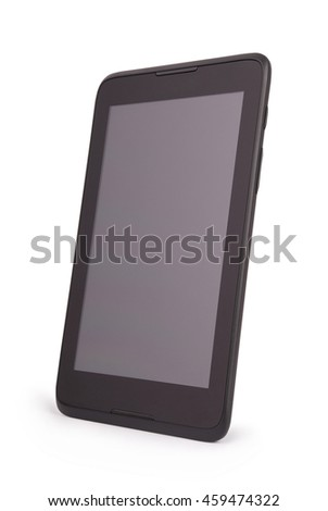 Black tablet PC isolated on white background isolated with path