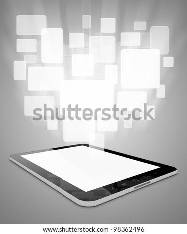 Black tablet pc on grey background, 3d render. Abstract cards - stock photo