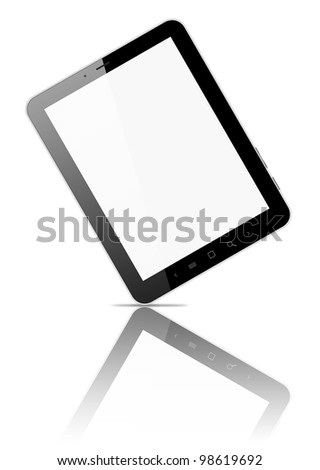 Black tablet pc, on white background, 3d render. - stock photo
