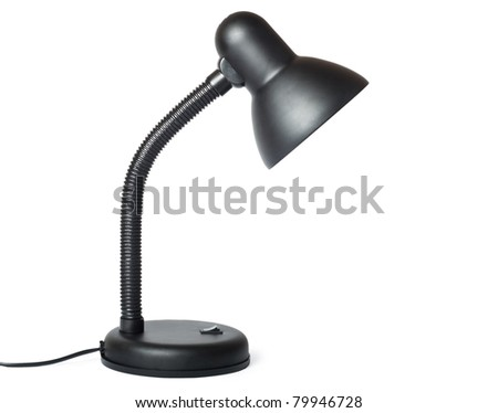 black tabletop lamp isolated on the white background