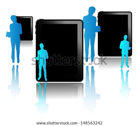 Black tablets with blue businessmen isolated on white background - stock photo