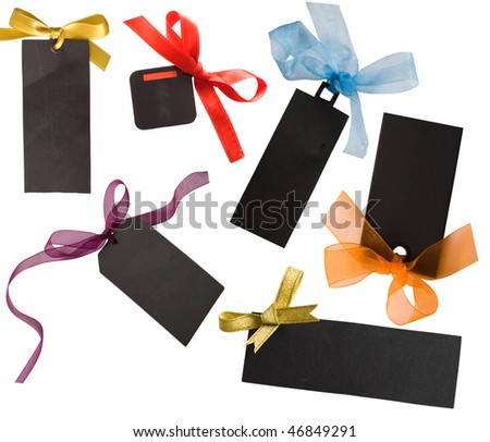 black tags with colorful bows - stock photo