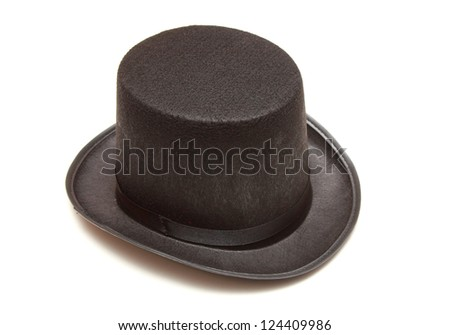 black tall hat in white background