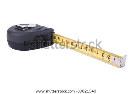 black tape measure isolated on white