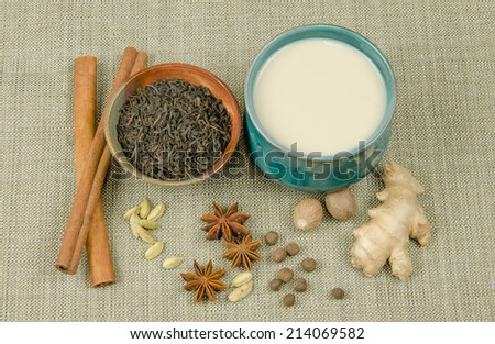 Black tea and aromatic spices with chai tea - stock photo