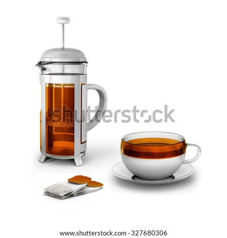Black tea bags with cup and french press on white