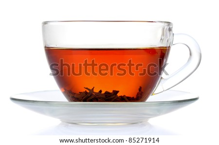 black tea in cup isolated on white - stock photo