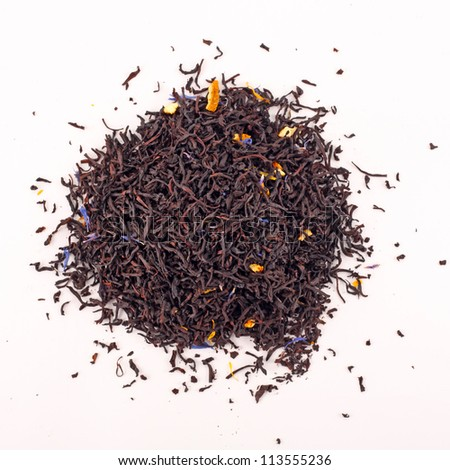 Black tea isolated on the white background