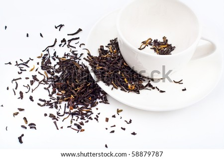 black tea scattered around the cup and on the dish