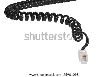 Black telephone cord and plug isolated on white