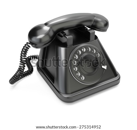 Black telephone isolated on white background. 3d render - stock photo