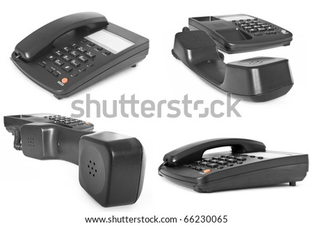black telephone isolated on white with reflection