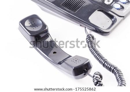 Black Telephone on isolated white background - stock photo